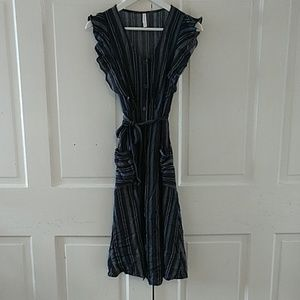 NWOT Striped Midi Dress with Pockets